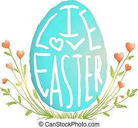 decorazione, stile, pasqua, acquarello, singolo, floreale, uovo