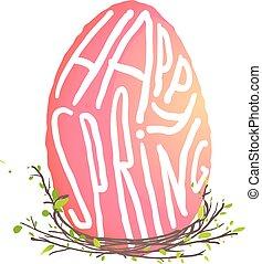 decorazione, stile, pasqua, nido, acquarello, singolo, floreale, uovo