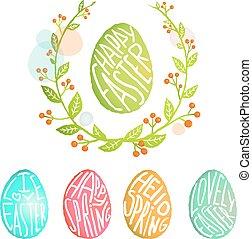 decorazione, stile, uova, collezione, acquarello, fiori, pasqua