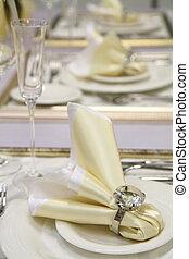 decorazione, tavola, bianco, occhiali, matrimonio