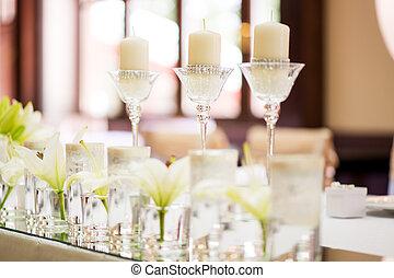 decorazione, tavola, matrimonio