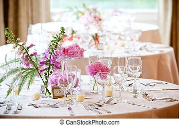 decorazione, tavola, matrimonio, serie