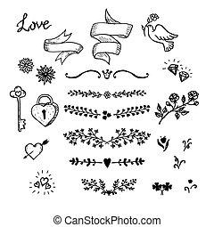 decorazioni, elementi, mano, decorativo, nastri, matrimonio, set, elements., fiori, vettore, disegno, fatto, wedding.