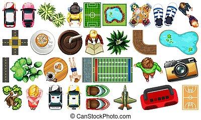 decorazioni, elemento, parco, aereo, set, isolato