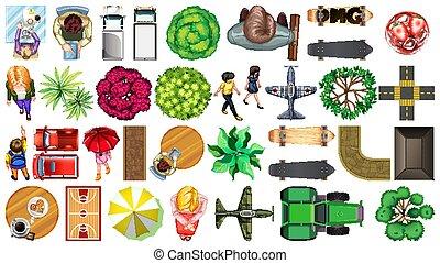 decorazioni, isolato, parco, set, aereo, elemento