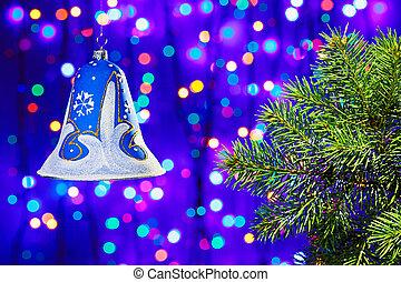 decorazioni natale, campana, su, multicolor, cerchi, bokeh, fondo