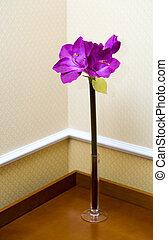 Decore made of vase with velvet flowers