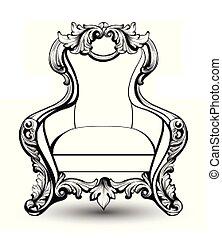 decors, structure., style, fauteuil, royal, francais, luxueux, victorien, vecteur, luxe, riche, compliqué, ornaments., baroque