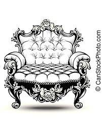 decors, style, floral, fauteuil, decoration., royal, arts, francais, élégant, victorien, vecteur, luxe, riche, rose, compliqué, ornaments., baroque, ligne