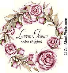 decors, zomer, card., lente, frame, krans, watercolor, rozen, delicaat, vector., uitnodiging, trouwfeest, sparen, date.