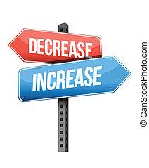decrease, increase road sign illustration design over a white background
