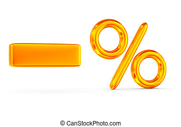 decrease percent on white background. Isolated 3D image