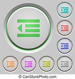 Decrease text indentation push buttons - Decrease text ...