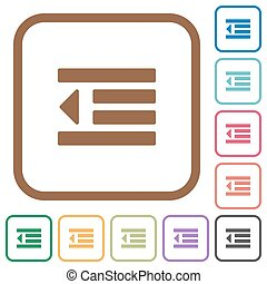Decrease text indentation simple icons in color rounded ...
