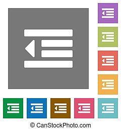 Decrease text indentation square flat icons - Decrease text...