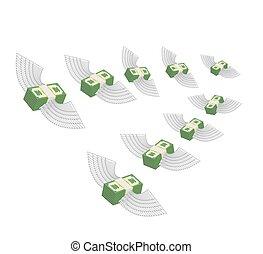 decreases., dinheiro., lucro, ilustração, winged, vetorial, dinheiro., voando, perda
