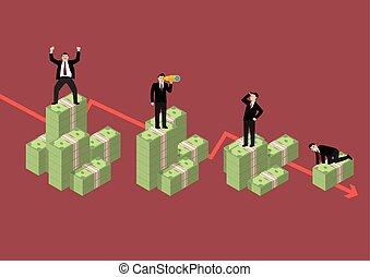 Decreasing cash money with businessmen in various activity