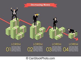 Decreasing cash money with businessmen in various activity infographic