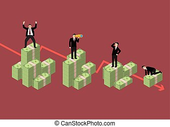 Decreasing cash money with businessmen in various activity
