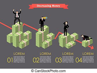 Decreasing cash money with businessmen in various activity infographic