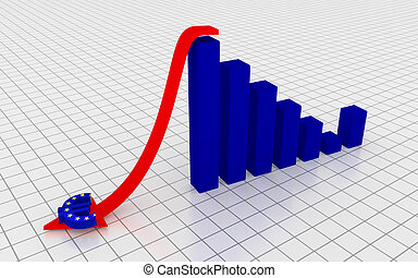 Decreasing graph with euro symbol. 3D Rendering.