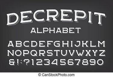 Decrepit alphabet font. Vintage letters and numbers. Stock ...