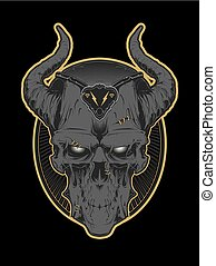 Decrepit evil cartoon skull with horns isolated on white. ...