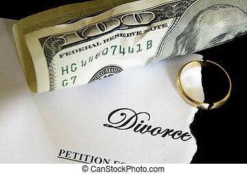 decreto, divórcio, rasgado, quebrada, dinheiro, anel...