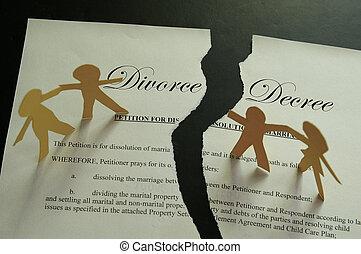 decreto, família, divórcio, papel, figuras, documento