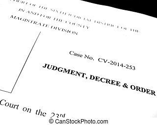 decreto, juicio, orden, legal, papeles