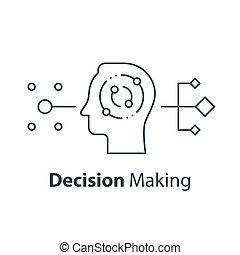 decyzja, psychologia, myślenie, albo, krytyczny, zrobienie, ...