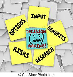 decyzja zrobienie, klejowaty notatnik, wkład, opcje, ryzyka, korzyści, resear