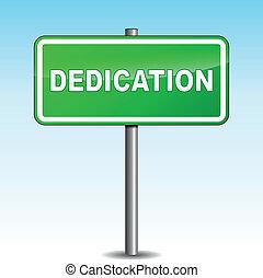 dedicación, poste indicador, vector