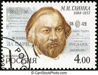 dedicado, circa, nascimento, selo, 2004:, -, aniversário, (1804-1857), impresso, 2004, m.i.glinka, 200th, rússia, compositor