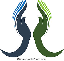 dedicado, logotipo, vetorial, mãos