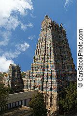 dedicado, meenakshi, esculturas, nadu, hindú, india.,...