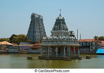 dedicado, nadu, dioses, suchindram, india, vishnu,...