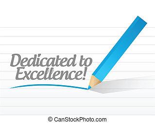 dedicado, para, excelência, mensagem, ilustração