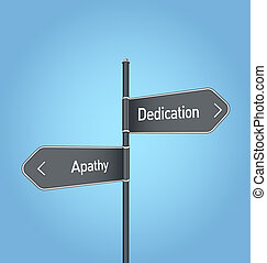 Dedication vs apathy choice road sign on blue background