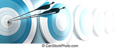 dedicato, effetto, uno, strategico, obiettivi, blu, banner., raggiungimento, tre, sbiadimento, offuscamento, bianco, immagine, affari, formato, marketing, orizzontale, centro, molti, frecce, com, o, primo