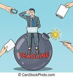 dedline, arte, trabajando, bomb., multi, ilustración, taponazo, vector, tasking, hombre de negocios