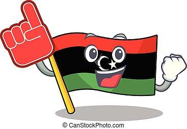 dedo, bandera, clings, pared, libia, espuma, mascota