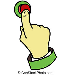 dedo, botón urgente