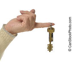 dedo, con, llaves