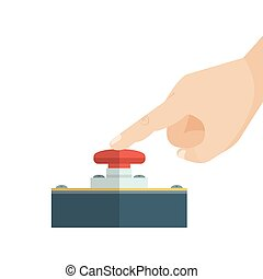 dedo, conmovedor, button., rojo, alarma