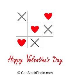 dedo del pie, cruz, juego, plano, feliz, valentines, tarjeta, tac, señal, marca, tic, día, tres, rojo, diseño, corazón