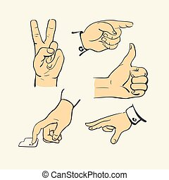 dedo, estilo, -, cobrança, mão, vetorial, ilustração, retro