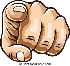 dedo, ilustração, vetorial, apontar
