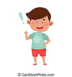 dedo, mostrando, ilustração, escuro, cima, shorts, menino, haired vermelho, rosto, ponteiro, vetorial, desgastar, seu, expressão, esperto, ficar