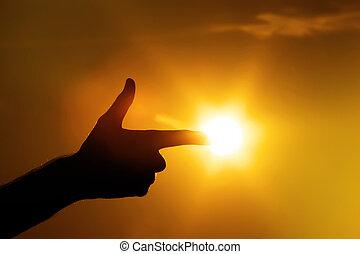 dedo que señala, a, sol, gesto